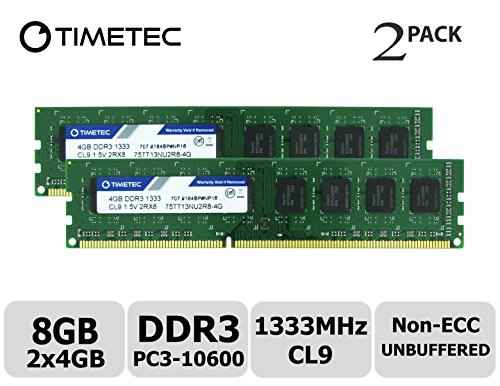 Timetec Hynix IC 8GB Kit (2x4GB) DDR3 1333MHz PC3-10600 Non ECC Unbuffered 1.5V CL9 2R8 Dual Rank 240 Pin UDIMM Desktop PC Computer Memory Ram Module Upgrade (Low Density 8GB Kit (2x4GB)) ()