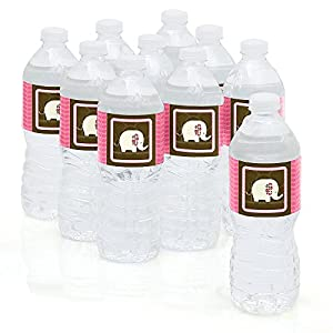 Pink Elephant - Party Water Bottle Sticker Labels - Set of 10