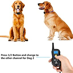 Shock Collar for Dogs,PATPET 330 yards Remote Training Your Dogs with Shock,Vibration and Breed ,Rainproof Receiver