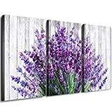 Rustic Home Decor Canvas Wall Art Retro Style Purple Lavender Flowers Picture on White Vintage Wood Background Rural Modern Artwork for Living Room Bedroom Office Decoration (InnerFrame, 18''X24''X3)