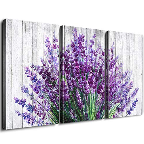 - Rustic Home Decor Canvas Wall Art Retro Style Purple Lavender Flowers Picture on White Vintage Wood Background Rural Modern Artwork for Living Room Bedroom Office Decoration (InnerFrame, 18
