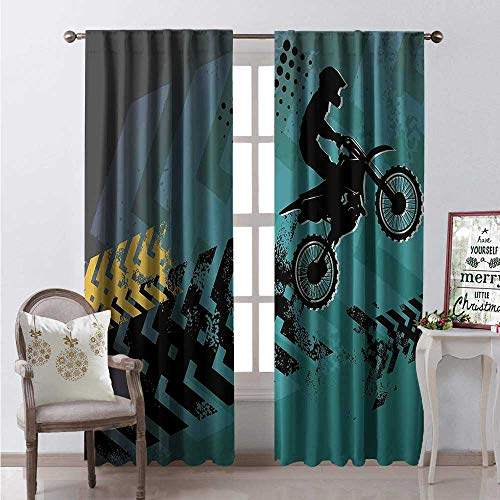 Hengshu Dirt Bike Waterproof Window Curtain Extreme Sports Theme Stunt Racer Silhouette Grunge Arrows Decorative Curtains for Living Room W96 x L84 Teal Pale Blue and Black
