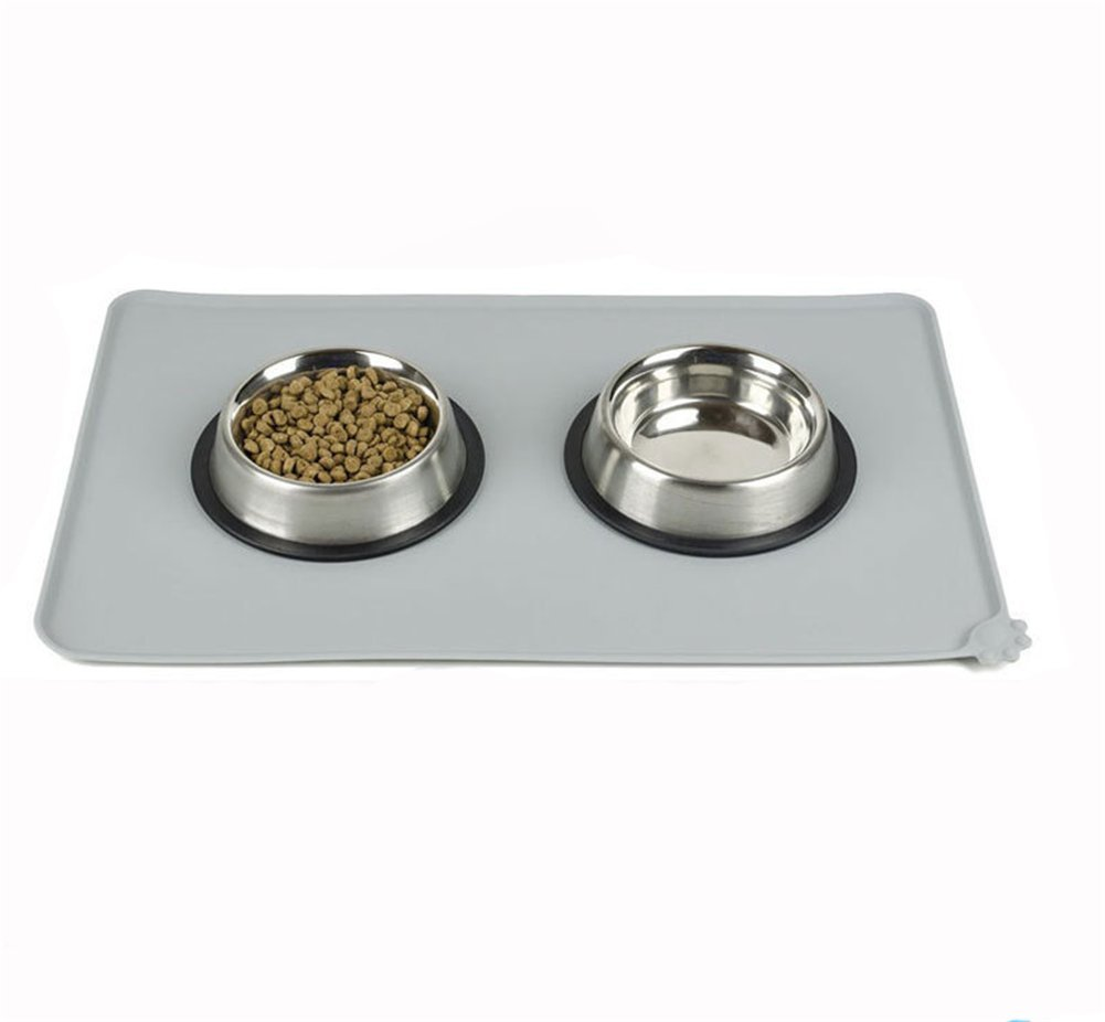 H&Zt Dog Food Mat, Silicone Pet Feeding Mats, Non Slip Waterproof Cat Bowl Trays Food Container Placemat for Small Animals (Grey) by H&Zt (Image #8)