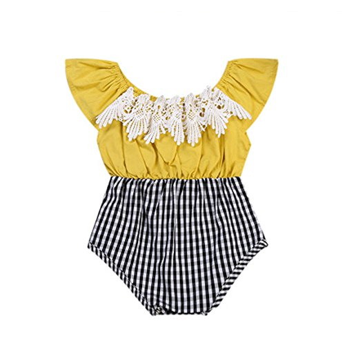 Baby Girls Lace Floral Off Shoulder Romper Yellow Top + Black White Zebra Plaid Bottom Newborn Jumpsuit (90 (12-18 Months))