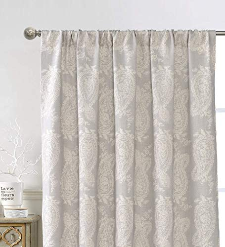 DriftAway Cathy Window Curtain Panels Linen Blend Semi Sheer Farmhouse and Modern Rustic Curtains for Living Room Bedroom Paisley Block Print Style Pattern Rod Pocket 2 Panels 52 Inch by 84 Inch Gray