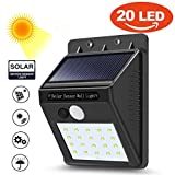 Fineser Solar Light Outdoor 20 LEDs,Motion Sensor Lights with Wide Angle Illumination, Wireless Waterproof Security Lights for Wall, Driveway, Patio, Yard, Garden