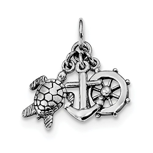 925 Sterling Silver Turtle Nautical Anchor Ship Wheel Mariners Pendant Charm Necklace Sea Life Shore Boating Fine Jewelry Gifts For Women For Her