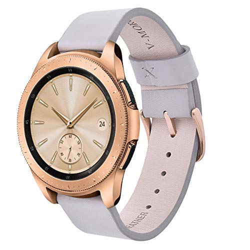 V-MORO for Gear Sport/Galaxy Watch 42mm Bands, 20mm Soft Leather Band Bracelet Strap Wristband for Samsung Gear Sport Watch R600 & Samsung Galaxy Watch 42mm R810 & Gear Sport R600 Men Women Gray