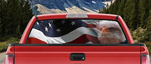 M22 Waving American Flag Bald Eagle Angry Eyes Full Color Back Window Graphic Decal Truck Backscape 60 X 18 Inches
