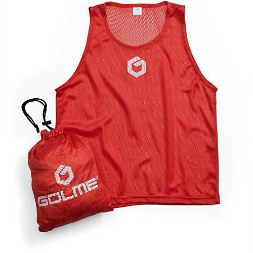 GOLME PRO Pinnies 12 Pack - Scrimmage Training Vests & Carry Bag
