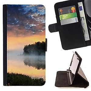 BullDog Case - FOR/Samsung Galaxy S4 Mini i9190 / - / Nature Lake Mist /- Monedero de cuero de la PU Llevar cubierta de la caja con el ID Credit Card Slots Flip funda de cuer