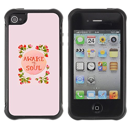 All-Round Hybrid Rubber Case Hard Cover Protective Accessory Compatible with Apple iPhone 4 & 4S - awake soul inspiring spring flowers peach