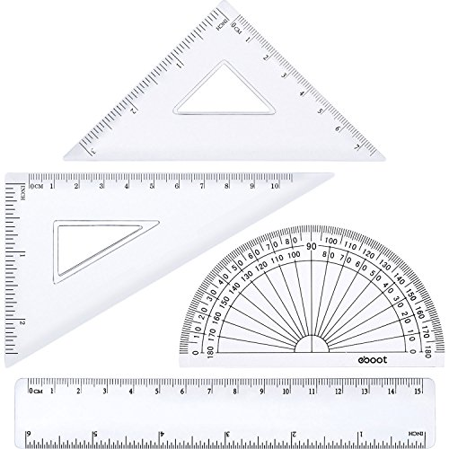 (eBoot 4 Pieces Math Geometry Tool Plastic Clear Ruler Sets, Protractor, Triangle)
