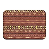 Soft Non-slip Brown And Black Southwest Tribal Aztec Bath Mat Coral Fleece Area Rug Door Mat Entrance Rug Floor Mats