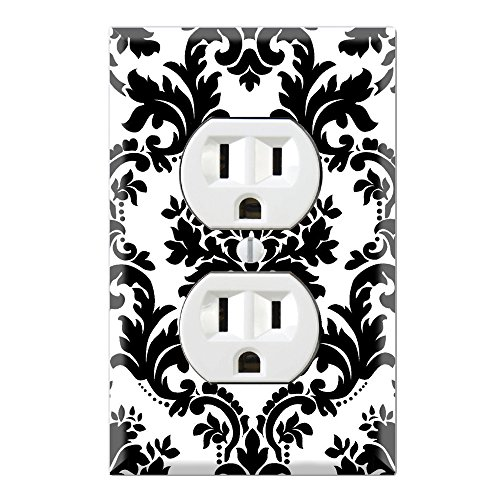 Duplex Wall Outlet Cover Plate Decor Wallplate - Black and White (Damask Switchplate)