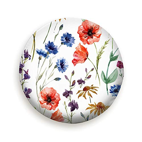 MAYUES Wildflowers Watercolor Poppy Cornflower Chamomile Nature Spare Wheel Cover tire Cover for Jeep Trailers and Many Vehicles(14 15 16 17 Inch)