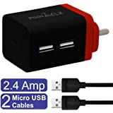 Pinnaclz WB-3-BR+2 MUSB-R Fast Charger 2.4A Dual USB Port Travel Charger Adapter with 2 Cables (Black-Red Wall Charger + 2 Cables)