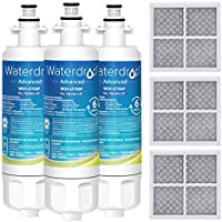 Waterdrop NSF 53&42 Certified LT700P Replacement Refrigerator Water Filter and LT120F Air Filter, Compatible with LG LT700P, ADQ36006101, ADQ36006102 and LT120F, Advanced, 3 combo