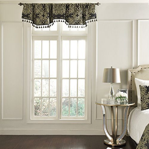 Beautyrest 48 x 18 Short Valance Small Window Curtains Bathroom, Living Room and Kitchens, Raven