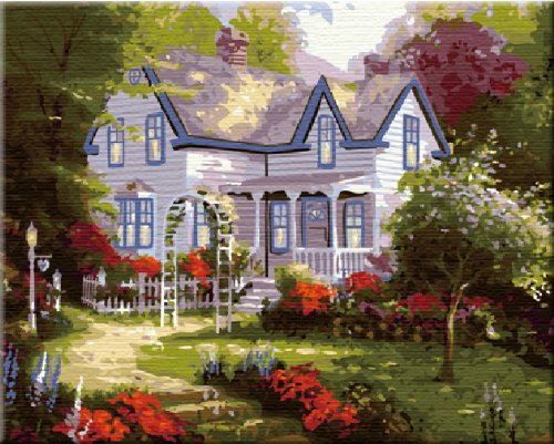 - ES Art DIY PBN-Paint by Number Famous Painting Spring House by Thomas Kinkade 16X20 inches Frameless.