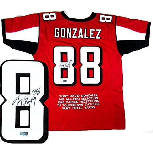 newest 4d89a a3833 on sale Tony Gonzalez Autographed Jersey - Red Embroidered ...