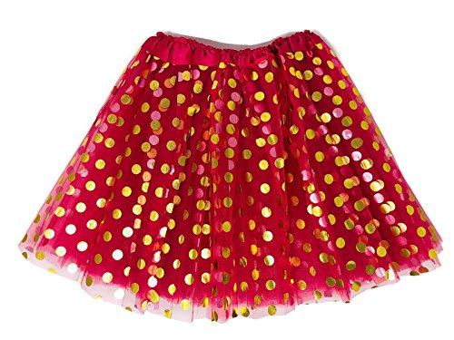 Rush Dance Teen Adult Classic Ballerina 3 Layers Polka Dots Tulle Tutu Skirt (Teen/Adult, Hot Pink with Gold Dots)