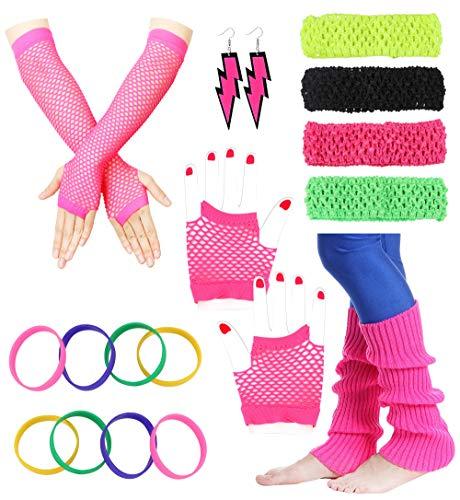 Besteel 80s Outfit Costume Accessories Headband Neon Earrings Fishnet Gloves Leg Warmers Bracelet Sets F ()