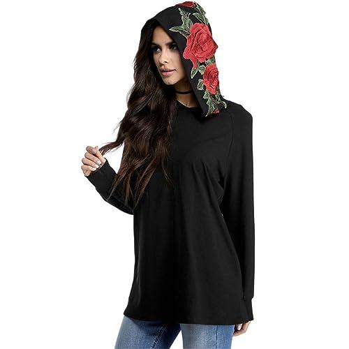 HARRYSTORE Moda mujer bordada manga larga con capucha Top Blusa camiseta casual camiseta