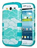 Galaxy S3 Case, S3 Case - ULAK Shock Resistant Series Hybrid Rubber Case Cover for Samsung Galaxy S3 III i9300 3in1 Hard Plastic +Soft Silicone(Ocean-Blue Silicone)