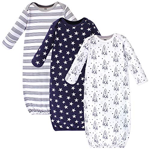 Hudson Baby Unisex Baby Cotton Gowns, Rocket Ship, 0-6 Months