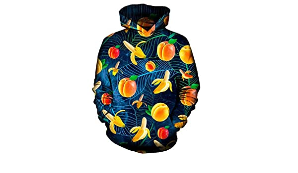 Yuehen Fruit Banana Peaches 3D Hoodie Hoodies Men Women New Fashion Hip Hop Streetwear at Amazon Mens Clothing store: