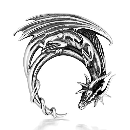 WithLoveSilver Sterling Silver 925 Charm Crescent Moon Dragon Pendant (Sterling Dragon Charm)