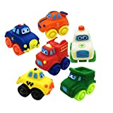 Rubber Plastic Mini Car Model Toy for Toddler Baby Kid Play Pack of 6 Pcs