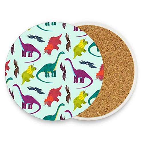 Dinosaurs Cartoon Coasters, Prevent Furniture from Dirty and Scratched, Round Drink Coasters Set Suitable for Kinds of Mugs and Cups, Living Room Decorations Gift 1 -
