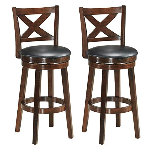 COSTWAY Bar Stools Set of 2, Counter Height Dining Chair, Fabric Upholstered 360 Degree Swivel, PVC Cushioned Seat, Perfect for Dining and Living Room (Height23.5-Set of 2) (Counter Wooden Swivel Stools)
