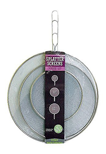 U-nique 3 Piece Splatter Screen Set, Stainless Steel Fine Mesh