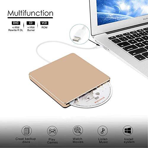 External DVD CD Drive USB3.0 VikTck USB C Super Drive External DVD CD+/-RW Burner Writer Optical Drive Compatible for with Mac/MacBook Pro/Air/iMac/Laptop/Desktop PC/Windows 7/8.1/10 (Gold) by VikTck (Image #1)