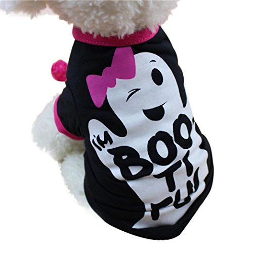 LINGERY Cool Halloween Ghost Bone Cute Pet T Shirts Clothing Small Puppy Costume (Black, S) -