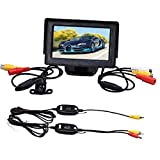 Changeshopping 4.3 Inch TFT LCD Monitor+Car Reverse Rearview Back Up Camera Wireless Kit