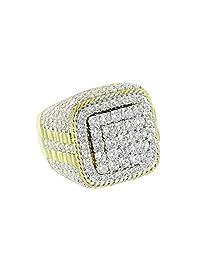 Custom Full Iced Out Ring Hip Hop Rapper Lab Diamonds 14K White Gold Finish Presidential Design