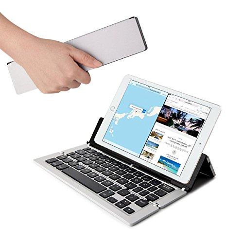 Faltbare Bluetooth Tastatur, Hizek Wireless Alumium Tragbare Metall Keyboard für ipad, Mac, Android, iphone 7/6/6S/ipad4, Samsung Galaxy Note 10.1/S5/S7, Windows System (Grau)
