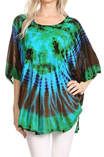 Sakkas 17031 - Sunia Tie Dye Caftan Sleeve Blouse | Cover Up - Mint - OS