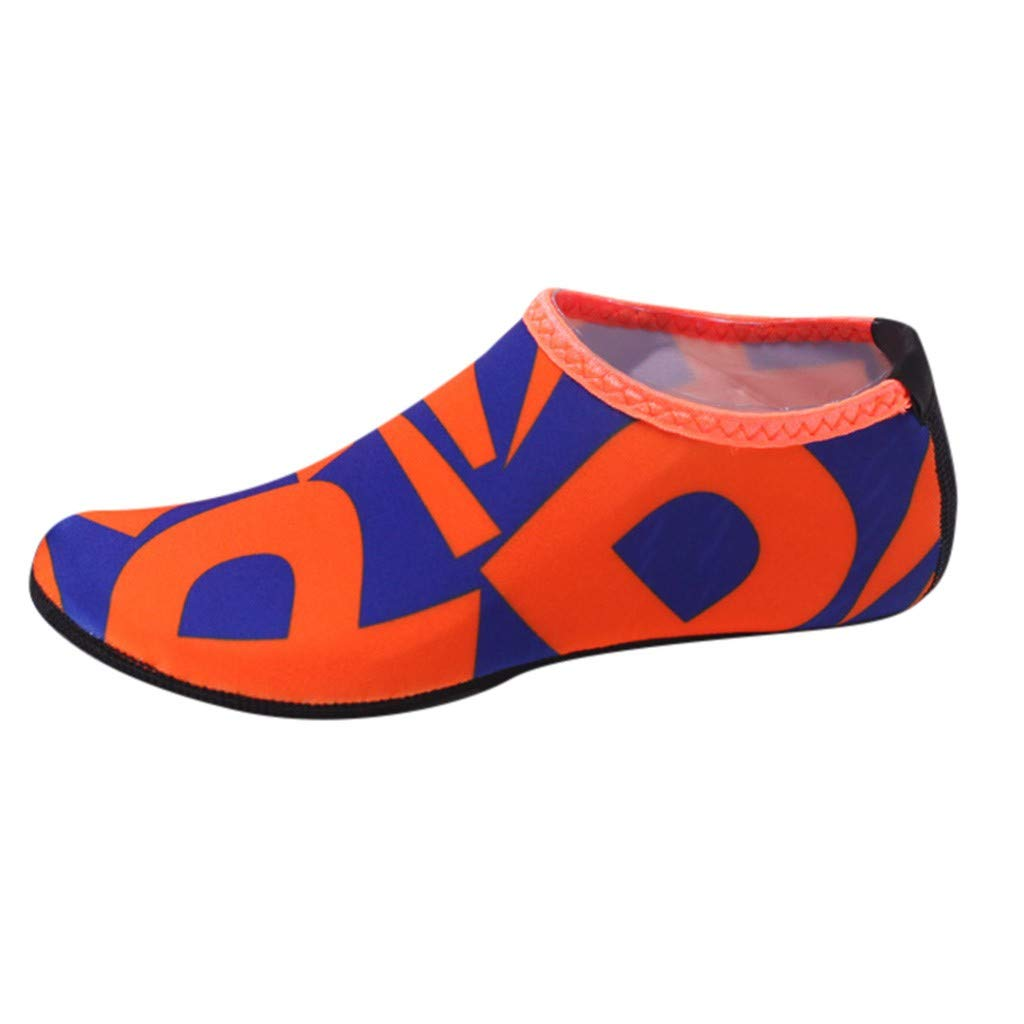 NUWFOR Beach Shoes Water Sports Unisex Water Shoes Barefoot Yoga Socks Diving Barefoot (Orange, 4-4.5 M US length:8.25'')