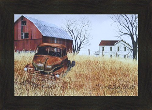 (Grandad's Old Truck by Billy Jacobs 16x22 Barn Farm House Rusty Vehicle Primitive Folk Art Print Country Framed Picture (2