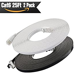 Cat6 Ethernet Cable Flat 25ft (Black and White) (at a Cat5e Price but Higher Bandwidth) Internet Network Cable - Cat 6 Ethernet Patch Cable Short - Computer Cable with Snagless RJ45 Connectors 98 ✔Cat6 patch cable connects all the hardware destinations on a Gigabit Local Area Network (LAN), such as PCs, computer servers, printers, routers, switch boxes, network media players, NAS, VoIP phones, PoE devices, and more; Supports: Gigabit 1000 BASE-T; 100 BASE-T; 10 BASE-T .Meets or exceeds Category 6 performance in compliance with the TIA/EIA 568-C.2 standard ✔Flexible and durable Cat6 cable with high bandwidth of up to 250 MHz guarantees high-speed data transfer for server applications, cloud storage, video chatting, online high definition video streaming, and online gaming ✔Flat Cat 6 cable design helps avoid tangled cords and saves space.Flat Ethernet cable is super flexible when run under the carpet or bent in the plane of its thin cross-section such as doors, rotating arms, drawers etc