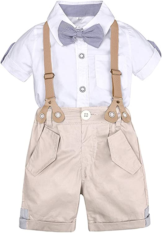 New Kids Baby Boy Summer Gentleman Bowtie Short Sleeve Shirt+Suspenders Pant Set