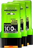 L'Oréal Men Expert Clean Power Ultra-purifiant Gel Douche pour Homme 300 ml - Lot de 3