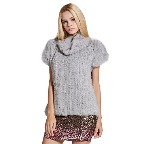 - Fur Story Women's Knitted Real Rabbit Fur Vest Pullover Solid Female Fashion Warm Coat (Gray)
