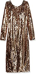 All Gold Long Sleeve Sequin Midi Dress