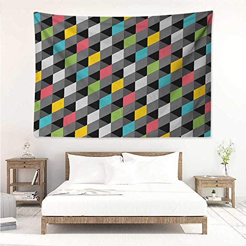 alisos Geometric,Wall Decor Tapestry Abstract Art Style Illustration of Colorful Squares Modern Expression Pattern 72W x 54L Inch Tapestry Wallpaper Home Decor Multicolor